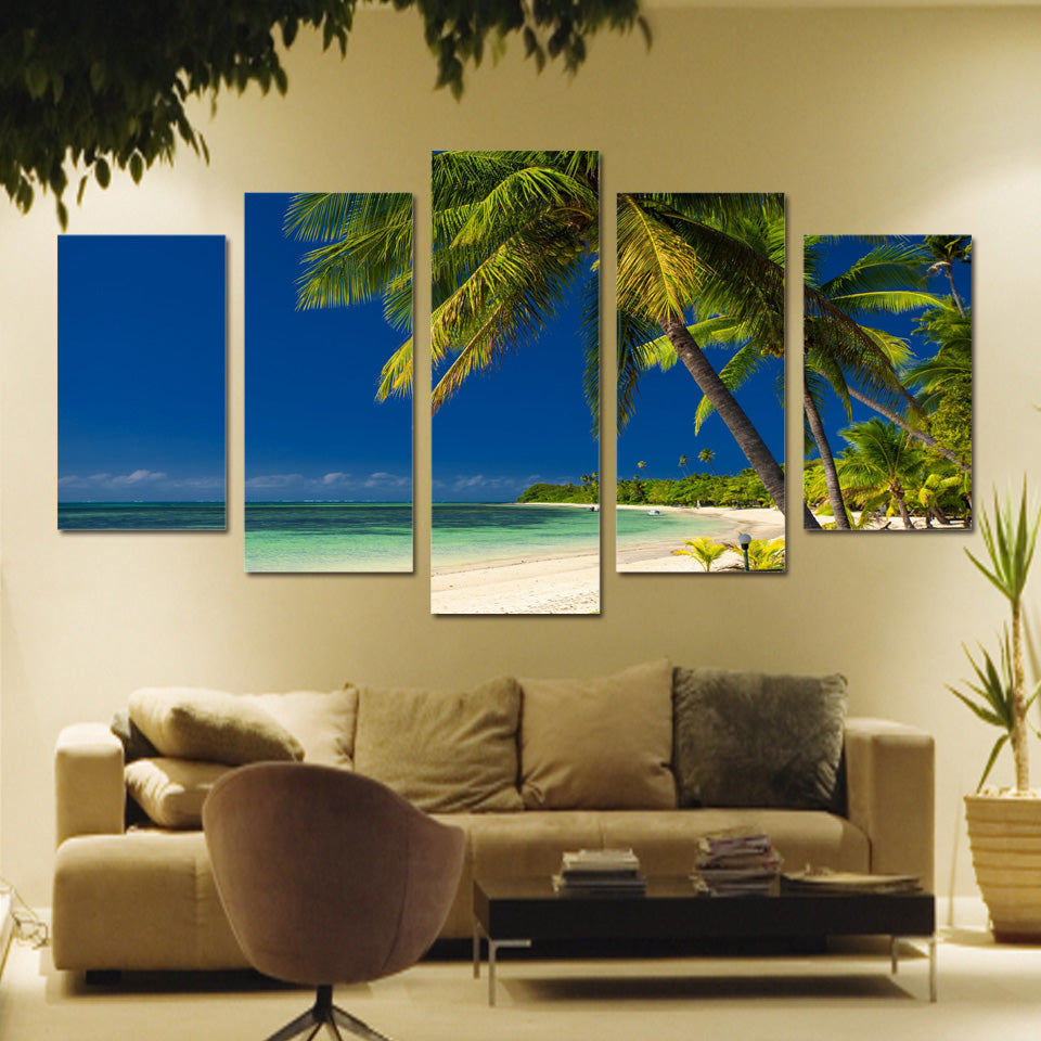 Limited Edition 5 Piece Ocean Palm Trees Canvas