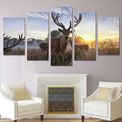 Limited Edition 5 Piece Deer In Sunrise Canvas