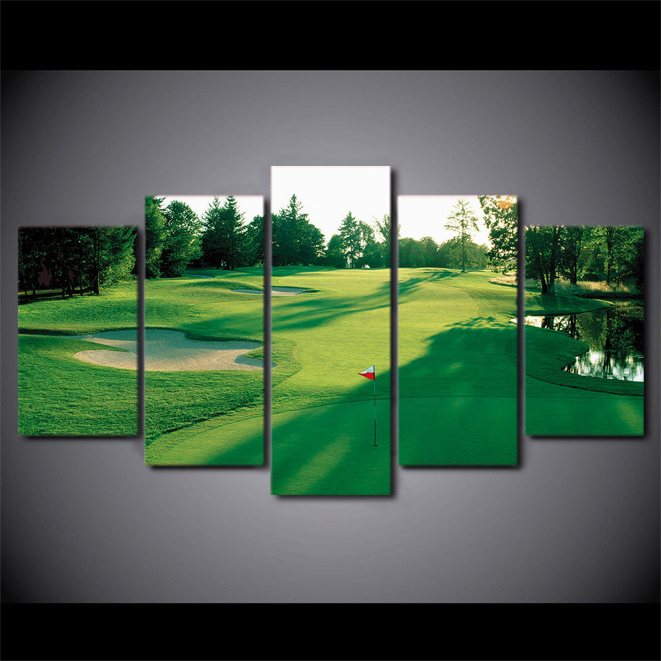 limited edition 5 piece golf scenery canvas modern arrival. Black Bedroom Furniture Sets. Home Design Ideas