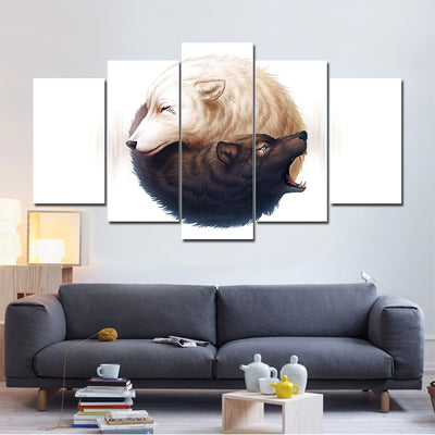 Limited Edition Yin And Yang Wolves Canvas by JoJoesArt
