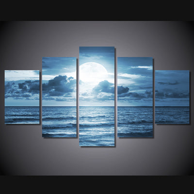 Limited Edition 5 Piece Ocean Moon Light Canvas