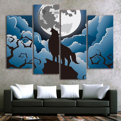 Limited Edition 5 Piece Howling Wolf Cartoon Artwork Canvas