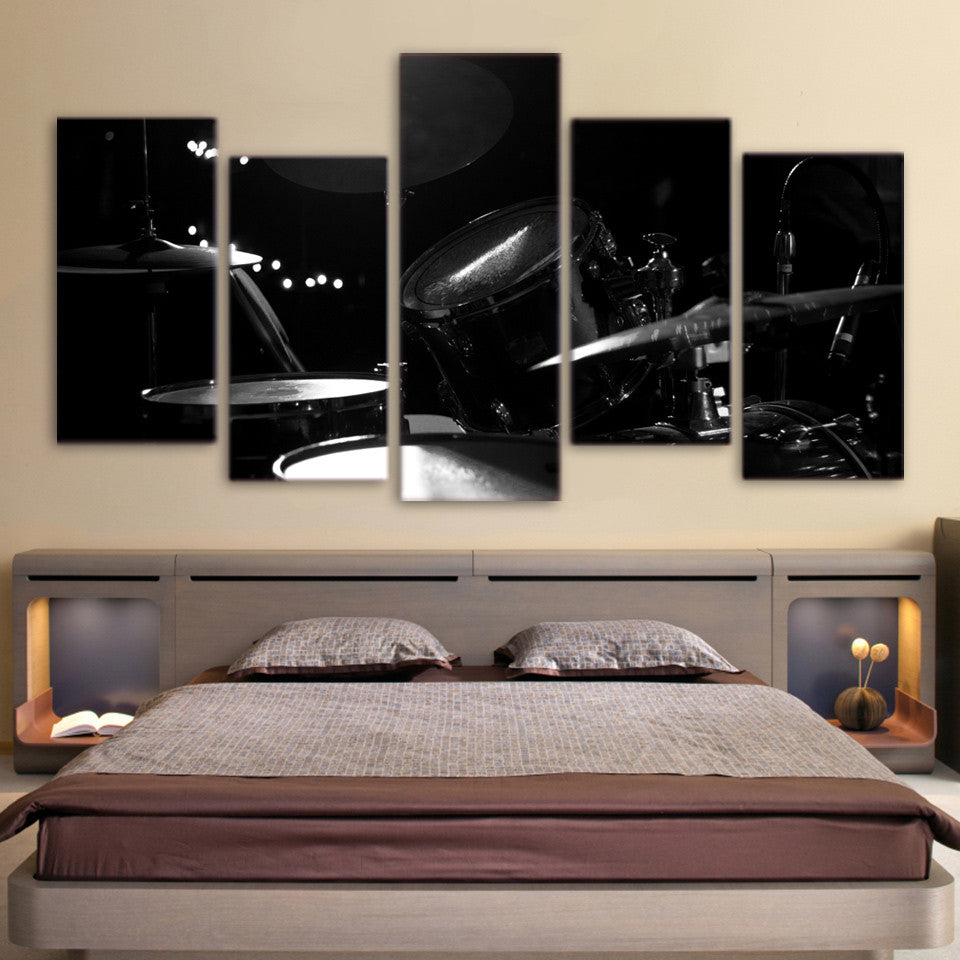 Limited Edition 5 Piece Black Drum Canvas
