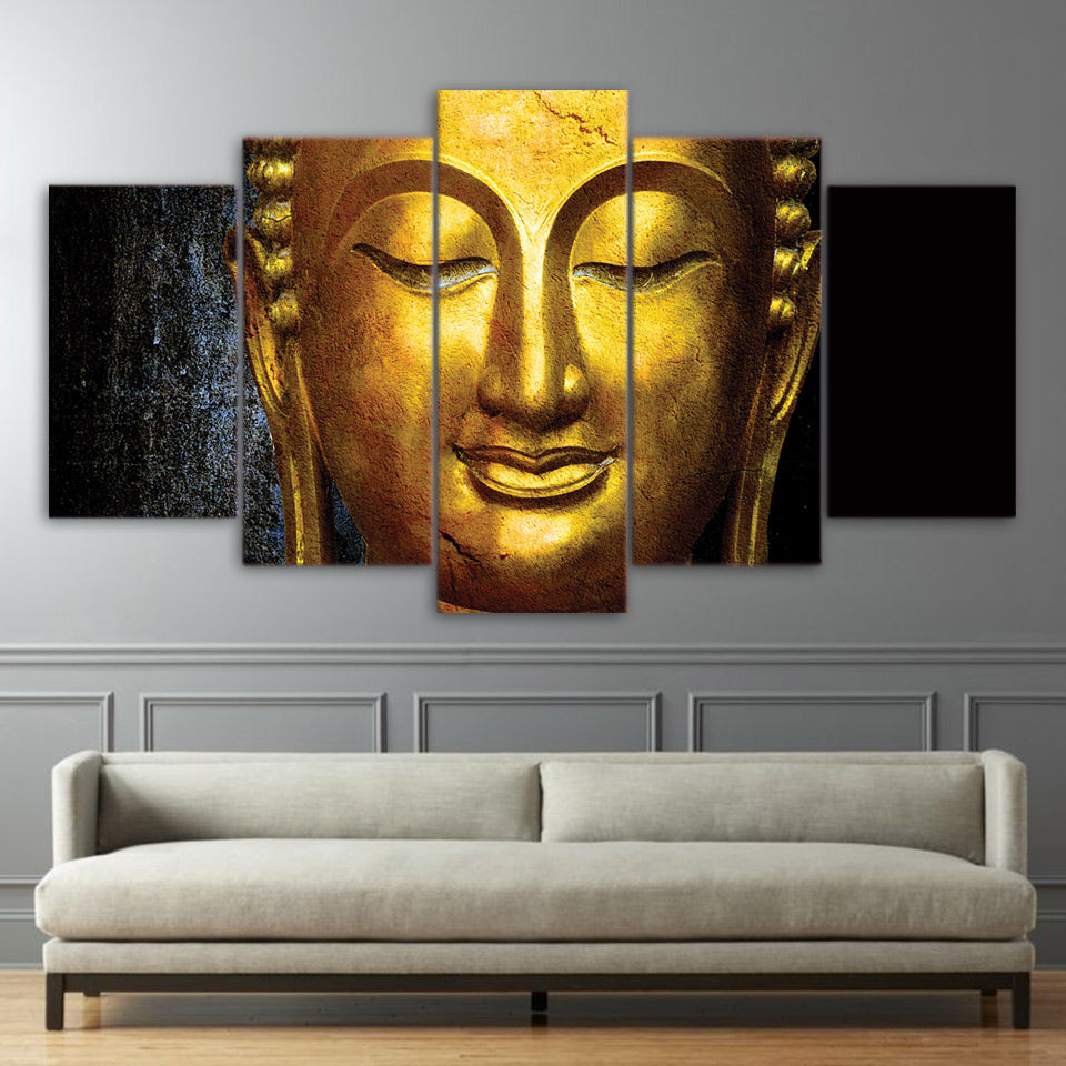 Limited Edition 5 Piece Golden Buddha Canvas