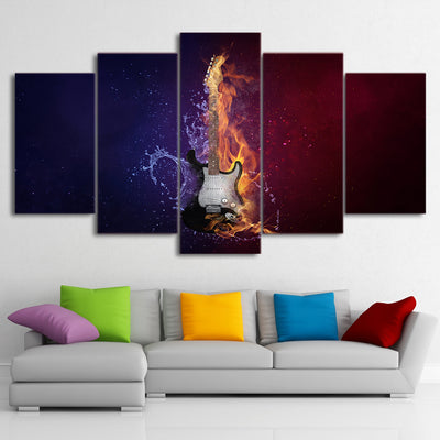 Limited Edition 5 Piece Flaming Guitar Canvas