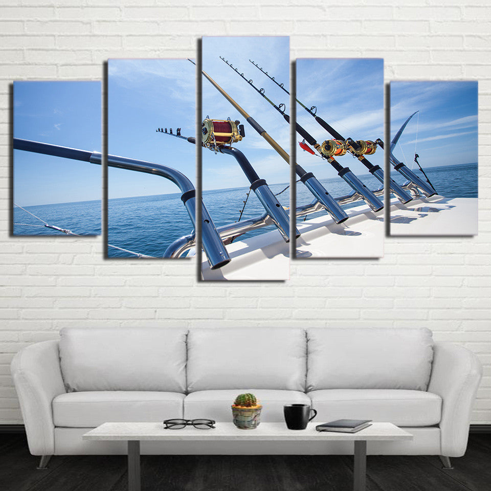 Limited Edition 5 Piece Fishing Rod Ocean Canvas