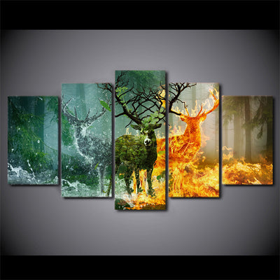 Limited Edition 5 Piece Green, Ice and Fire Deer Canvas