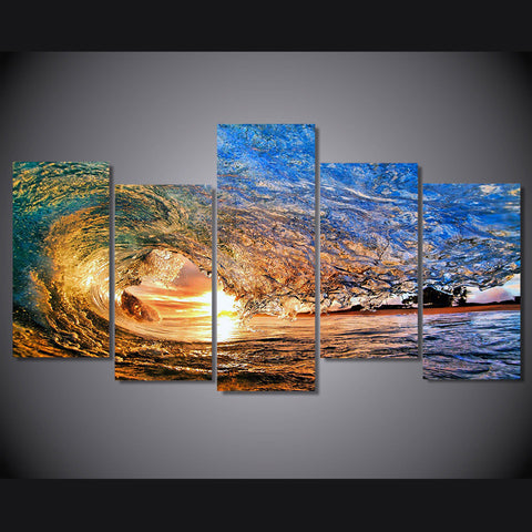 Limited Edition 5 Piece Huge Ocean Waves in Sunset Canvas