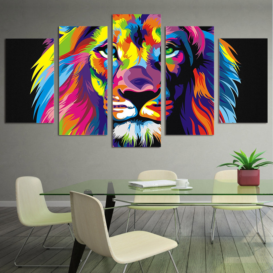 Limited Edition 5 Piece Colorful Lion Canvas
