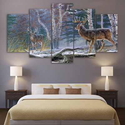 Limited Edition 5 Piece Snowy Deer Canvas