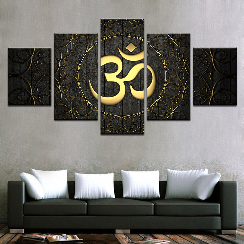 Limited Edition 5 Piece Golden Om Canvas