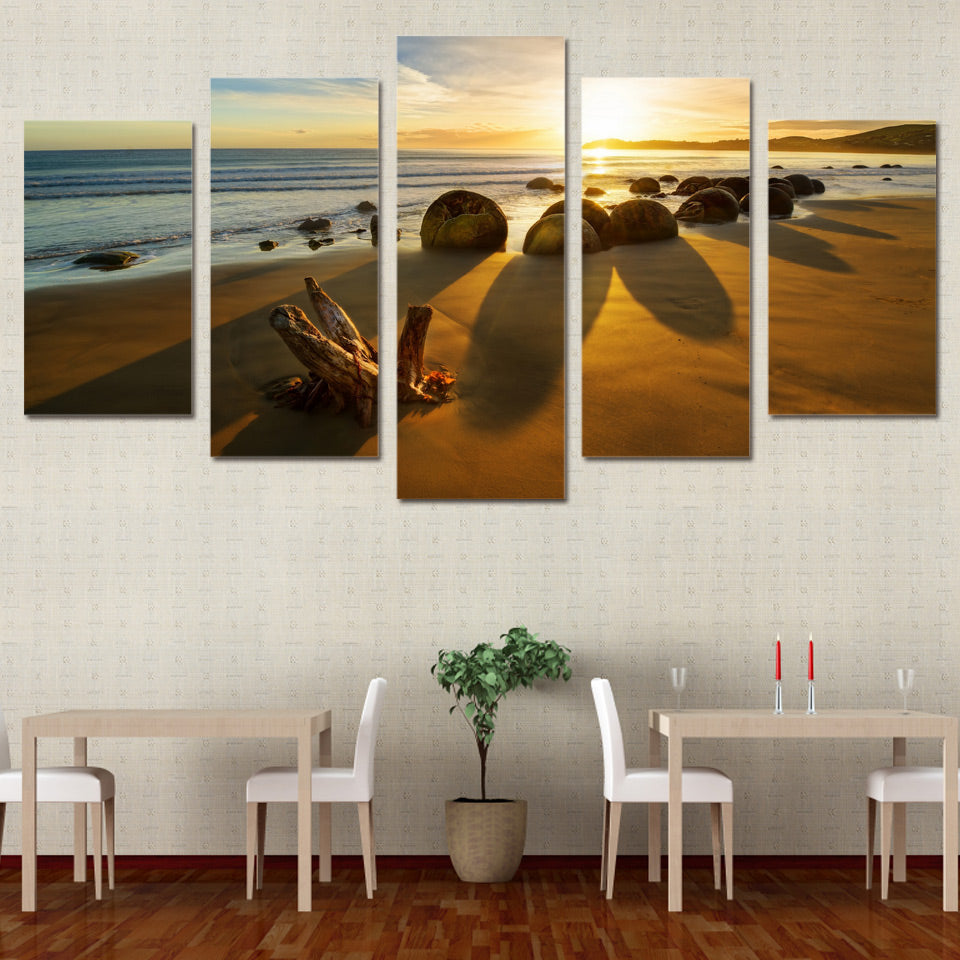Limited Edition 5 Piece Ocean Sea Stones Canvas