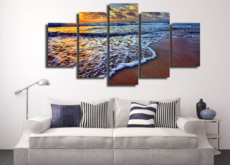 Limited Edition 5 Piece Beautiful Beach Waves Canvas