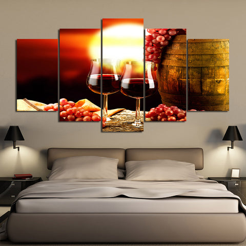 Limited Edition 5 Piece Grape Wine In a Glass with Barrel Canvas