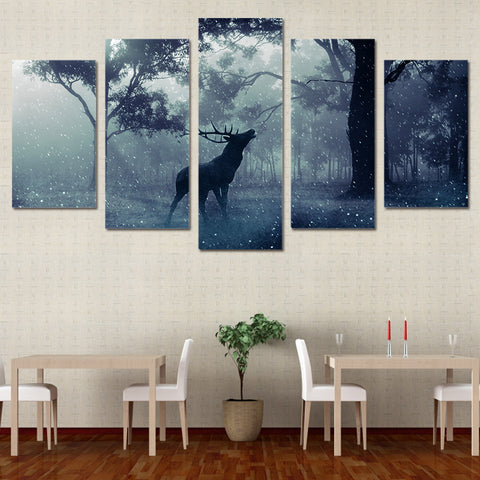 Limited Edition 5 Piece Deer In Forest Canvas
