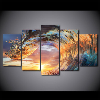 Limited Edition 5 Piece Eye Catching Wave Canvas