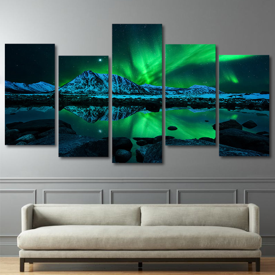 Limited Edition 5 Piece Aurora Borealis Canvas