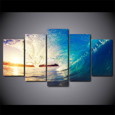 Limited Edition 5 Piece Huge Ocean Waves Canvas