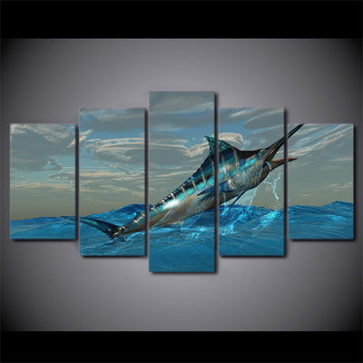 Limited Edition 5 Piece Jumping Fish Canvas