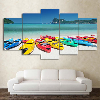 Limited Edition 5 Piece  Colorful Kayaks in the Beach Canvas