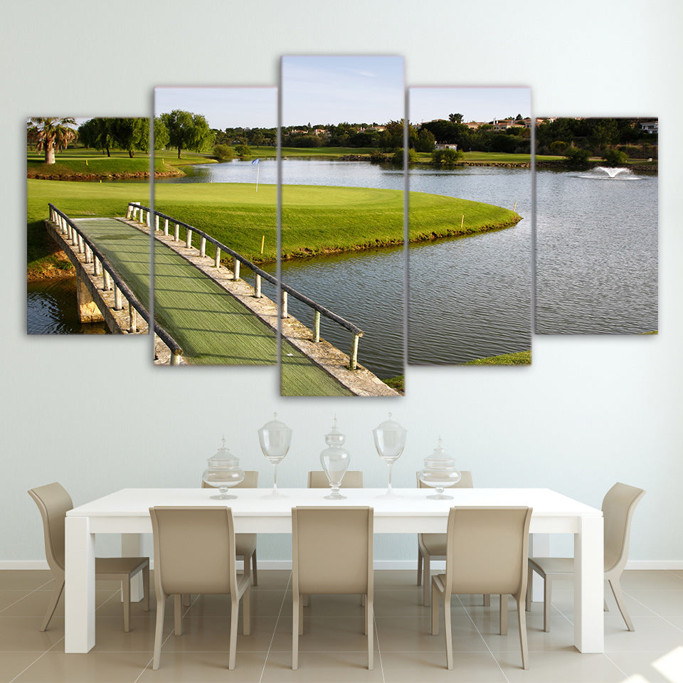 Limited Edition 5 Piece Lake Shore And Bridge Golf Course Canvas