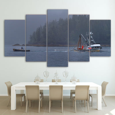 Limited Edition 5 Piece Modern Fishing Boat Canvas