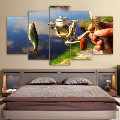 Limited Edition 5 Piece Modern Fishing Rod Pulley With Fish Canvas