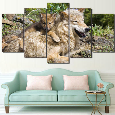 Limited Edition 5 Piece Mother Wolf And Baby Canvas