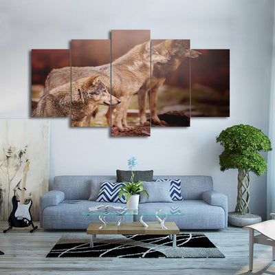 Limited Edition 5 Piece Nature Brown Wolf Canvas