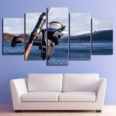 Limited Edition 5 Piece Ocean Fishing Rod Canvas