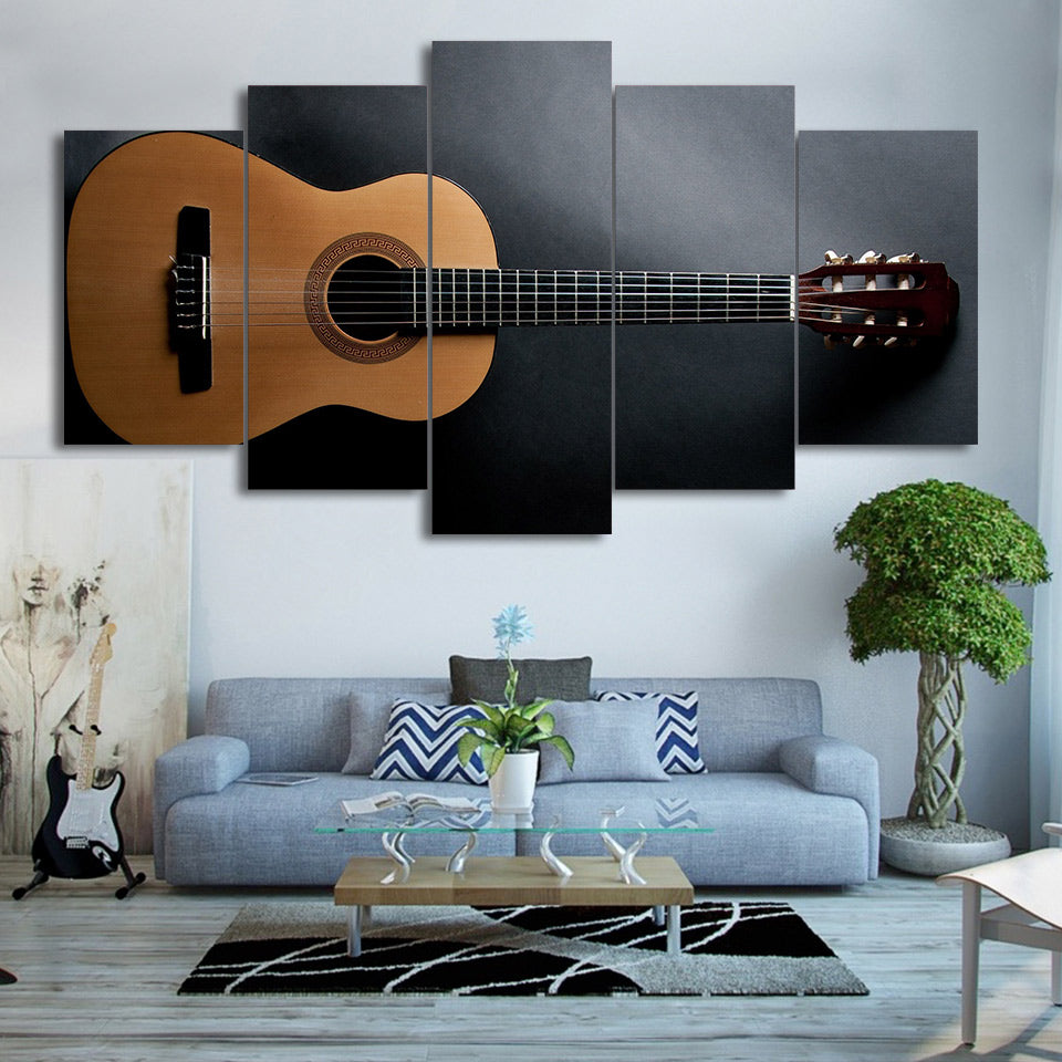 Limited Edition 5 Piece Plain Acoustic Guitar Canvas