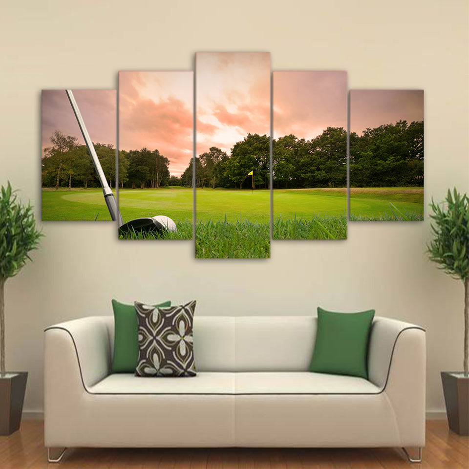 Limited Edition 5 Piece Scenic Golf Course Canvas