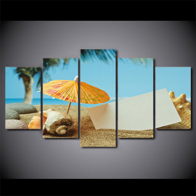 Limited Edition 5 Piece  Sea Shells In The Beach With Umbrella Canvas