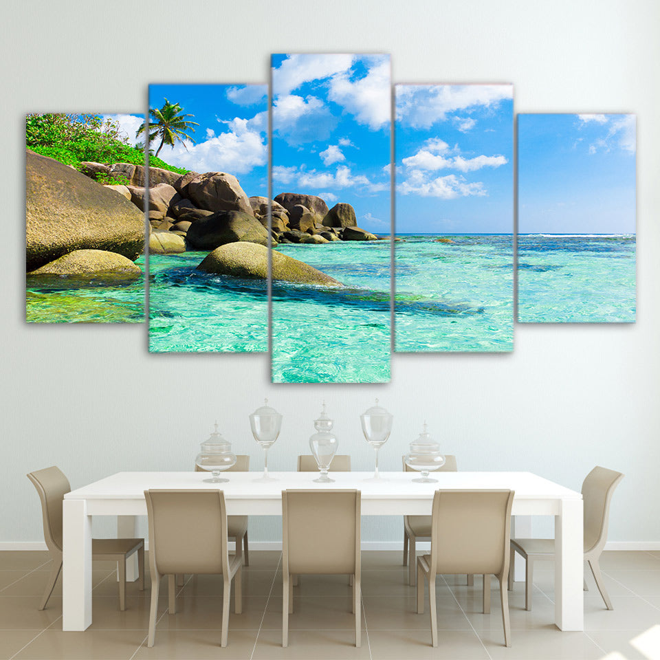 Limited Edition 5 Piece Seaside Beach With Rocks Canvas