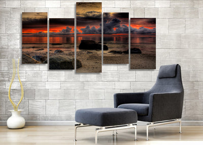 Limited Edition 5 Piece Seaside in Sunset Canvas