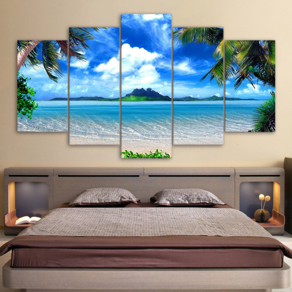 Limited Edition 5 Piece Breathtaking Blue Sky In Beach Canvas