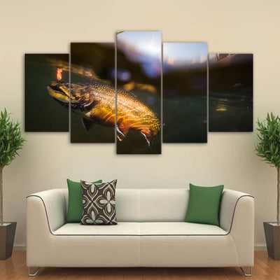 Limited Edition 5 Piece Small Fish In The Lake Canvas