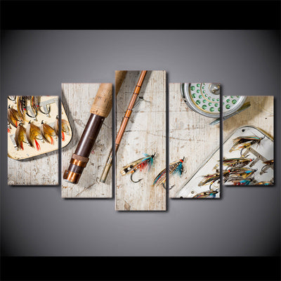 Limited Edition 5 Piece Stylish Fishing Hooks Canvas