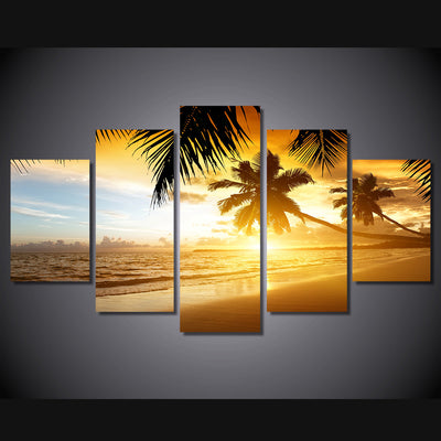 Limited Edition 5 Piece  Sunrise At The Beach Canvas