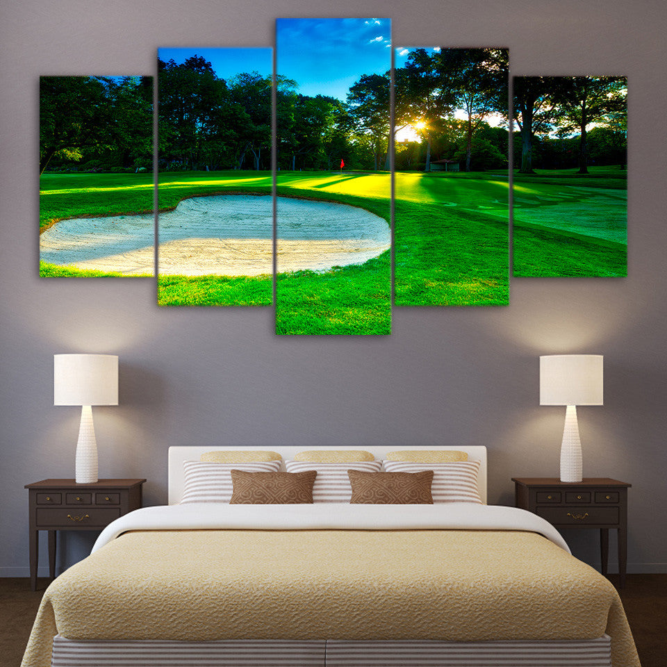 Limited Edition 5 Piece Sunrise In Spring Golf Course Canvas