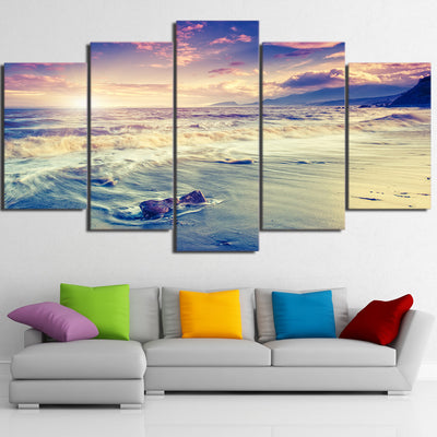 Limited Edition Beach Waves In Sunset Canvas