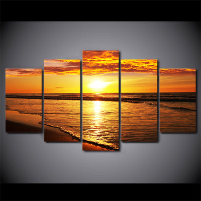 Limited Edition 5 Piece Golden Sunset By The Beach Canvas