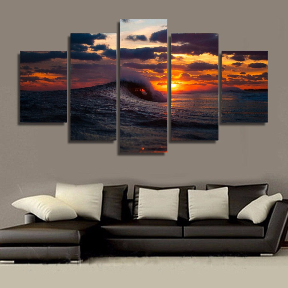Limited Edition 5 Piece Surfing Wave in Sunset Canvas
