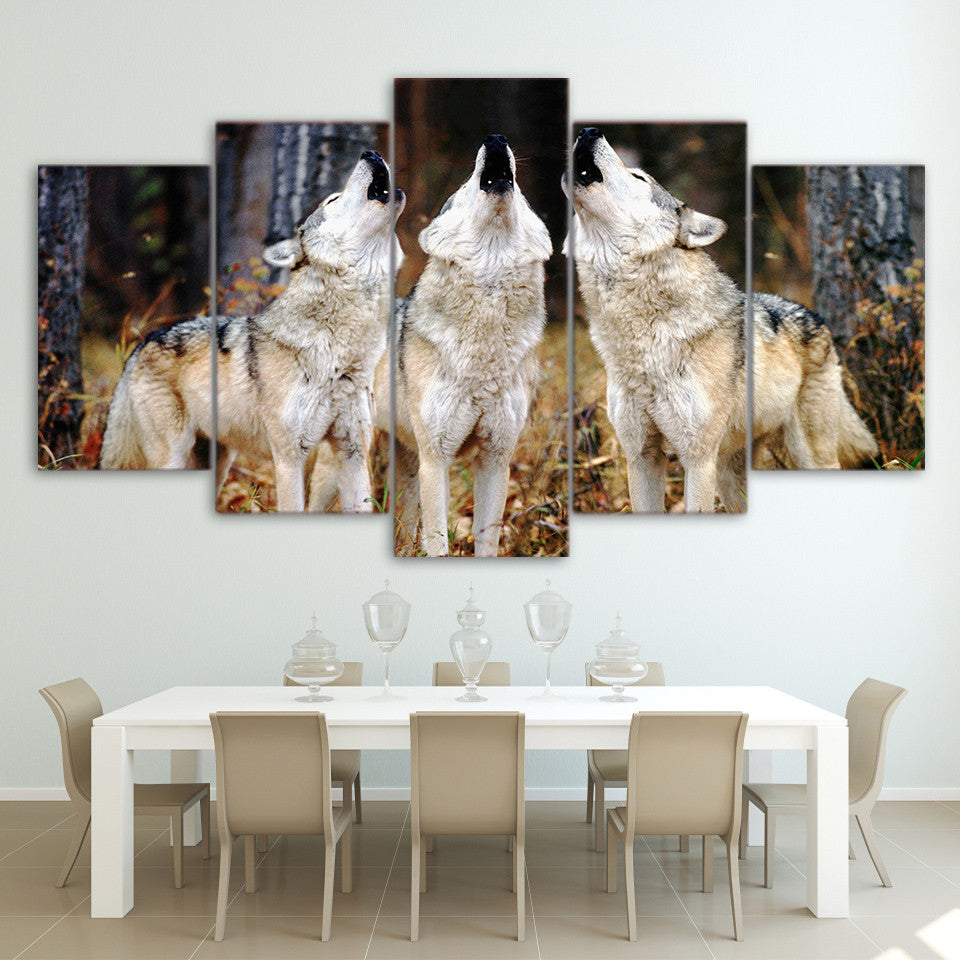 Limited Edition 5 Piece Threesome Howling Wolf Canvas