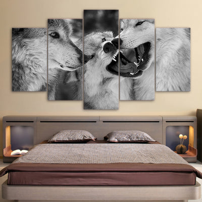 Limited Edition 5 Piece Threesome White Wolf Canvas
