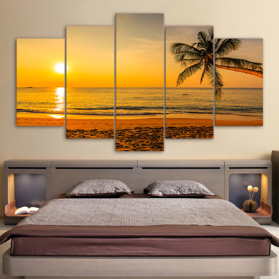 Limited Edition 5 Piece Tropical Beach In Sunset Canvas