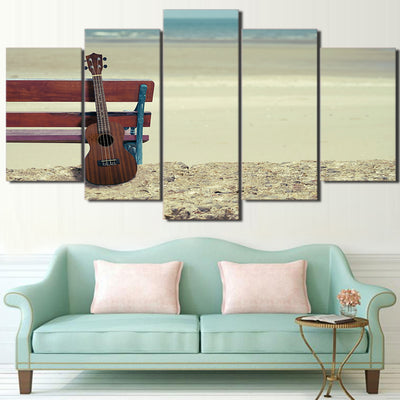 Limited Edition 5 Piece Ukelele Guitar In A Seaside Canvas