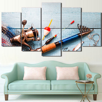 Limited Edition 5 Piece Unique Fishing Rod Canvas