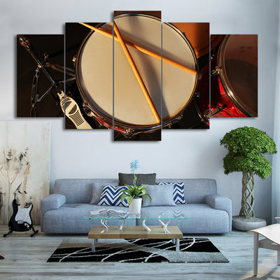 Limited Edition 5 Piece Vintage Drum with Drumsticks Canvas