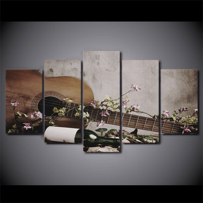 Limited Edition 5 Piece Vintage Guitar With Flowers And Wine Canvas